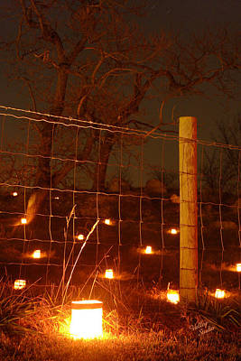 Art Print featuring the photograph Candle At Wire Fence 2 - 12 by Judi Quelland
