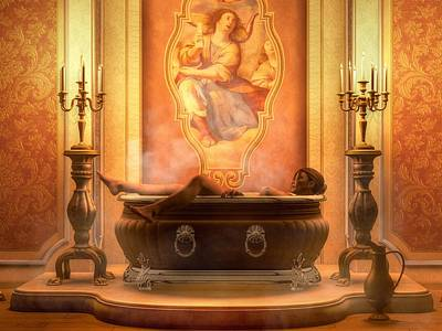 Digital Art - Candle Lit Bath by Kaylee Mason