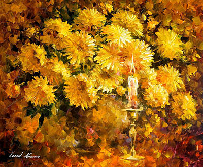 Candle Of Reason - Palette Knife Oil Painting On Canvas By Leonid Afremov Original by Leonid Afremov