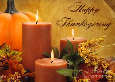Digital Art - Candle Thanksgiving by JH Designs