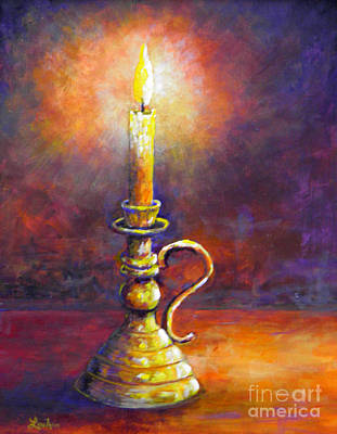 Painting - Candle -  Violet Glow by Lou Ann Bagnall