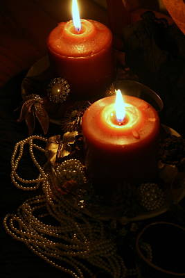 Photograph - Candlelight And Vintage Jewels by Kay Novy