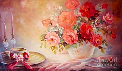 Painting - Candlelight Roses And Hat by Patricia Schneider Mitchell