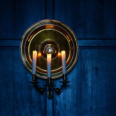 Candles And Blue Wooden Background Art Print by Dutourdumonde Photography