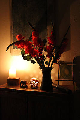 Candles And Orange Gladiolus Print by Ron McMath