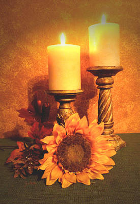Candles And Sunflower Art Print by Zelma Hensel