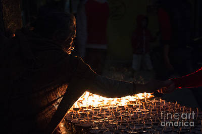 Photograph - Candles At Boudhanath  by Nola Lee Kelsey