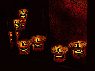Digital Art - Candles For The Evening by Kathleen Stephens