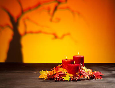 Photograph - Candles In Scary Halloween Landscape by Ulrich Schade