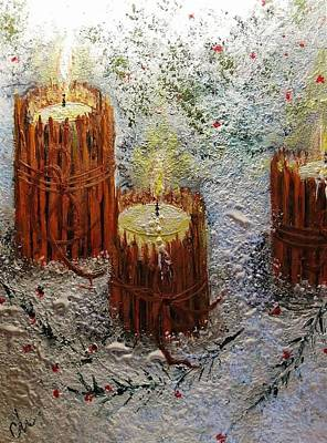 Art Print featuring the painting Candles In The Snow.. by Cristina Mihailescu