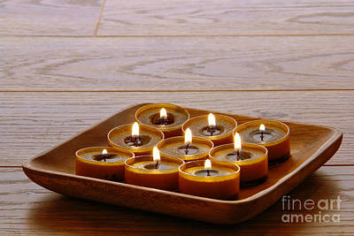 Photograph - Candles In Wood Tray by Olivier Le Queinec