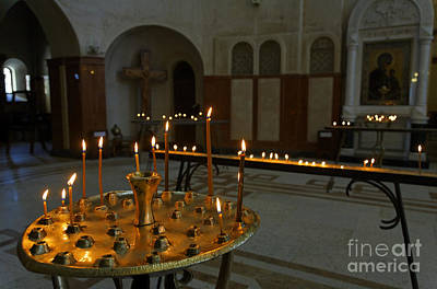 Sameba Photograph - Candles Inside The Tsminda Sameba Cathedral Tbilisi by Robert Preston