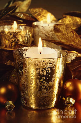 Photograph - Candles Lit With A Sparkling Gold Theme  by Sandra Cunningham