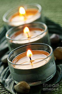 Candles On Green Art Print by Elena Elisseeva