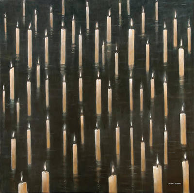 Diwali Painting - Candles On The Lake Udaipur India by Lincoln Seligman