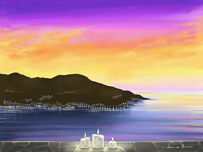 Seascape Digital Painting - Candles by Veronica Minozzi