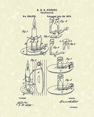 Drawing - Candlestick 1879 Patent Art by Prior Art Design