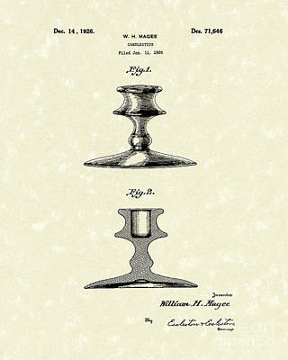 Candlestick 1926 Patent Art Art Print by Prior Art Design