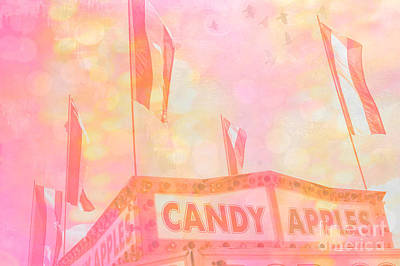 Surreal Pink Carnival Photograph - Candy Apples Carnival Festival Fair Stand  by Kathy Fornal