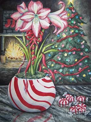 Amaryllis Watercolor Painting - Candy Cane Amaryllis by Conni  Reinecke