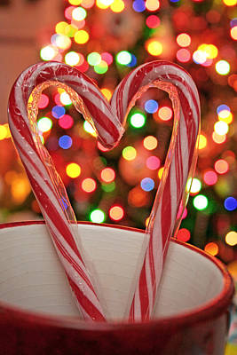 Photograph - Candy Cane Heart by Barbara West