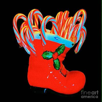 Photograph - Candy Canes In Santa Boot by Janette Boyd