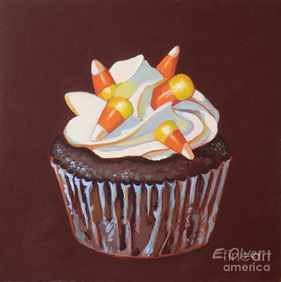 Candy Painting - Candy Corn Cupcake by Elisabeth Olver