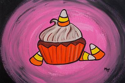 Painting - Candy Corn Cupcake by Marisela Mungia
