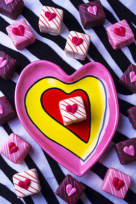 Tasty Photograph - Candy Dish And Hearts by Garry Gay