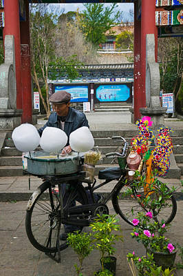 Cotton Candy Photograph - Candy Floss Vendor Selling Cotton by Panoramic Images