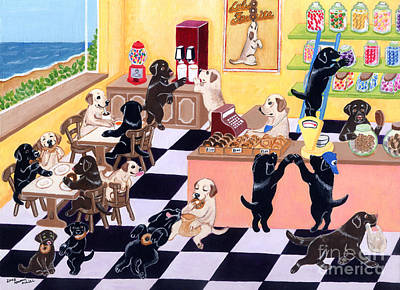 Chocolate Labrador Retriever Painting - Candy Shop Labradors by Naomi Ochiai
