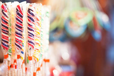 Candy Sticks At German Christmas Market Art Print