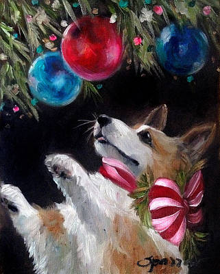 Corgi Painting - Candy Striped Bow by Mary Sparrow