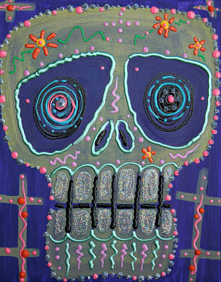 Dia De Los Muertos Painting - Candy Sugar Skull by Laura Barbosa