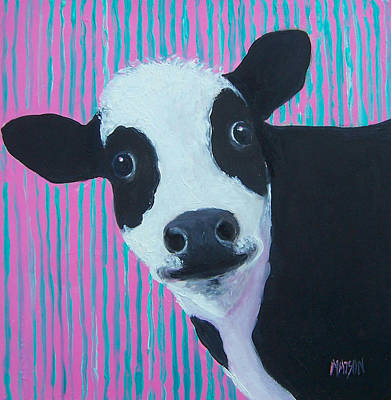 Nursery Decor Painting - Candy The Cow by Jan Matson