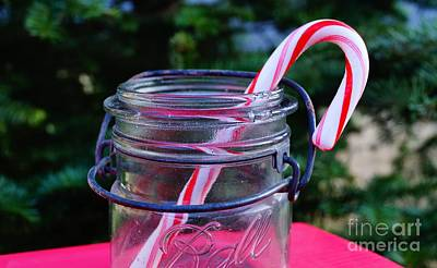 Photograph - Candycane In Ball Jar by Kerri Mortenson