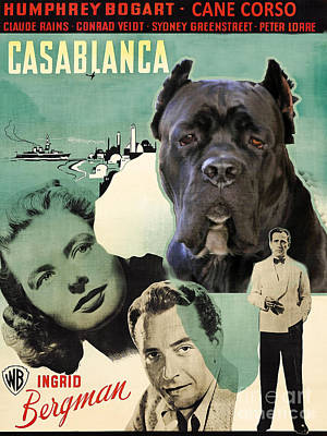 Painting - Cane Corso Art Canvas Print - Casablanca Movie Poster by Sandra Sij
