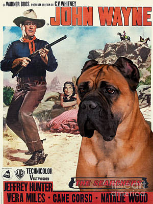 Painting - Cane Corso Art Canvas Print - The Searchers Movie Poster by Sandra Sij