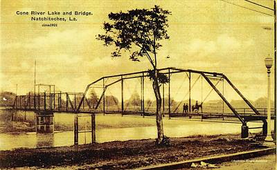 Photograph - Cane River Lake And Bridge C1921 by Audreen Gieger