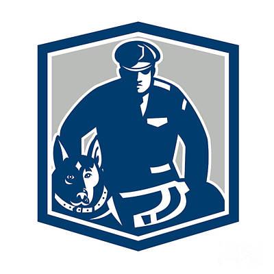 Police Dog Digital Art - Canine Policeman With Police Dog Retro by Aloysius Patrimonio