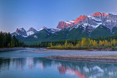 Canmore Engine Bridge Over Bow River Art Print