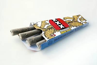 Cannabis Cigarettes And Packaging Art Print by Adam Hart-davis