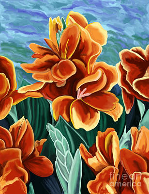Painting - Cannas Red Orange by Tim Gilliland