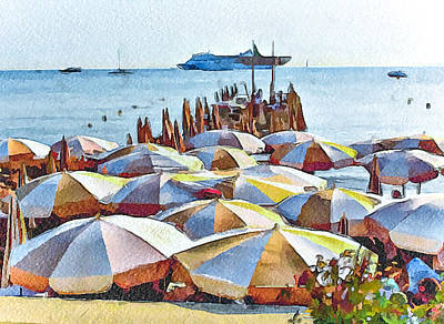Cannes Beach 2 Art Print