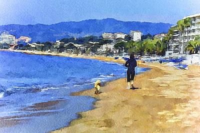 Cannes Beach Run Art Print