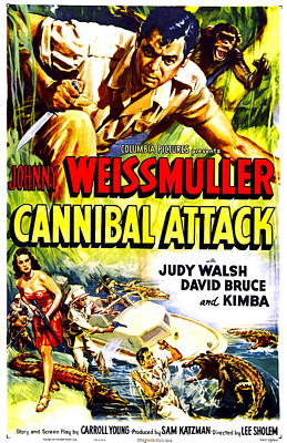 1950s Movies Photograph - Cannibal Attack, Us Poster, Johnny by Everett