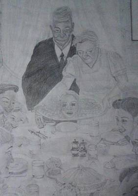Cannibalism Drawing - Cannibal Dinner by Aimee Strausbough