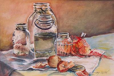 Art Print featuring the painting Canning Jars And Onions by Joy Nichols