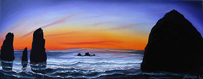 Cannon Beach At Sunset 16 Art Print by Portland Art Creations