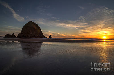 Cannon Beach Dusk Conclusion Art Print by Mike Reid